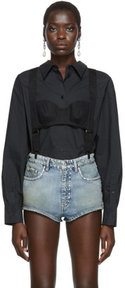 pushBUTTON Black High Neck Suspenders Blouse