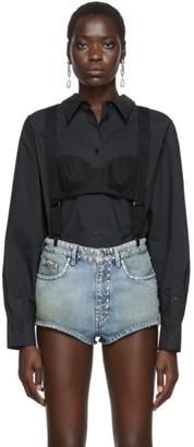 Pushbutton Black High Neck Suspenders Blouse