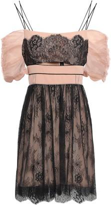 Self-Portrait Cold-shoulder Organza-paneled Lace Mini Dress