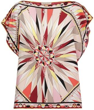 Emilio Pucci Sleeveless Printed Silk Satin Top