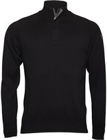 Duck and Cover Mens Crook 1/2 Placket Funnel Neck Knit Top Black