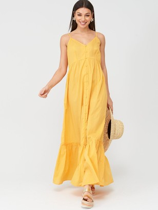 Very Button Through Cotton BeachMaxi Dress - Yellow
