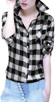 Allegra K Woman Roll Up Sleeves Buttoned Boyfriend Plaids Shirt