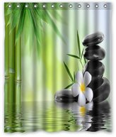"""Bamboo shower curtain Innovation Print Design Relaxation water plumeria bamboo stones spa Jasmine Flower Shower Curtain Decoration Mildew Waterproof Polyester Fabric Bathroom Shower Curtain 60"""" x 72"""" Inch"""