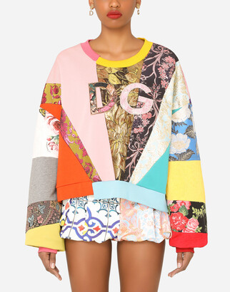 Dolce & Gabbana Patchwork Jersey Sewatshirt With Embroidery