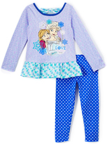 Children's Apparel Network Frozen Purple Ruffle Raglan Tee & Leggings - Toddler & Girls