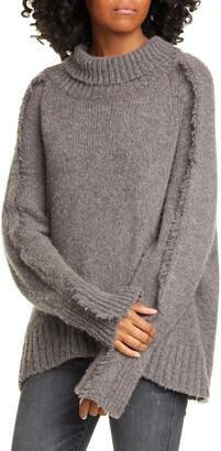 Brochu Walker Odene Fringe Sleeve Turtleneck Sweater