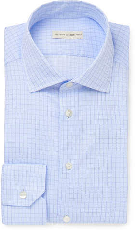 Etro Light-Blue Slim-Fit Cutaway-Collar Checked Cotton Shirt
