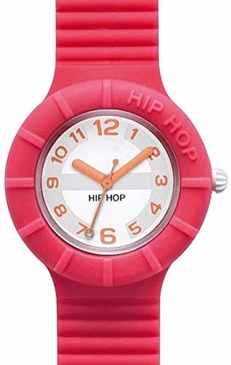 Watch HIP HOP Woman Numbers Collection dial White e watchband in Silicone Fuchsia Movement TIME JUST - 3H Quartz