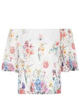 Quiz Cream And Pink Lace Floral Bardot Top