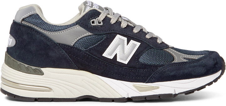 New Balance Ml991v1 Suede, Mesh And Leather Sneakers