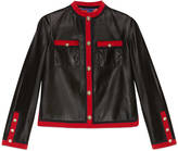 Gucci Leather jacket with grosgrain trim