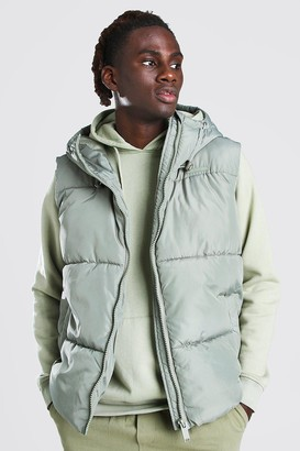 boohoo Mens Green Hooded Toggle Detail Gilet, Green