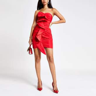 River Island Womens Red ruched front bandeau bodycon dress