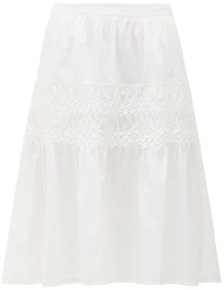 Merlette New York Castell Smocked Cotton-lawn Skirt - White