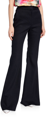 Adam Lippes Textured High-Rise Flare Pants