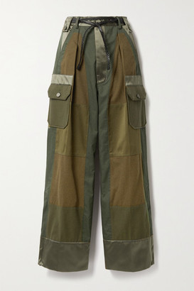 Tom Ford Paneled Cotton-twill, Wool-flannel And Silk-satin Cargo Pants - Army green