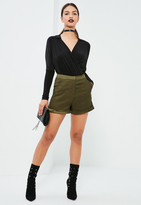 Missguided Khaki Satin Detail Tailored Shorts
