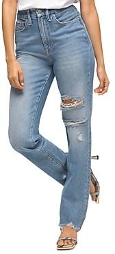 Good American Good Boy Distressed Boyfriend Jeans in Blue536