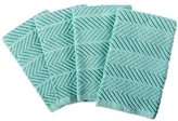 """DII 100% Cotton Ultra-Absorbent Cleaning Drying Luxury Kitchen Chevron Bar Mop Dish Towels for Everyday Home Basic 16 x 19"""" Set of 4- Aqua"""