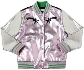 Stella Mccartney Kids Embroidered Metallic Faux Leather Jacket