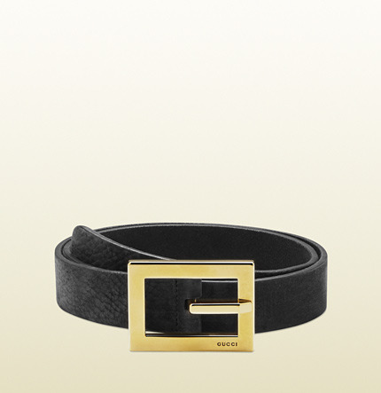 Gucci Black Leather Belt With Square Buckle