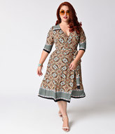 Kiyonna Plus Size Orange & Turquoise Print Sleeved Beguiling Border Wrap Dress