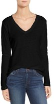 James Perse Women's Slub Cotton V-Neck Long Sleeve Tee
