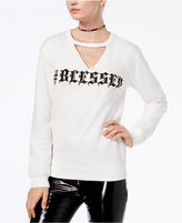 Hybrid Juniors' Choker #Blessed Graphic Sweatshirt