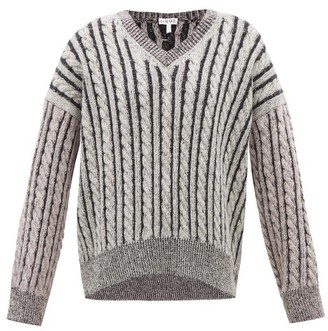 Loewe Contrast-panel Cable-knit Wool Sweater - Womens - Grey