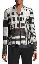 Lafayette 148 New York Linette Zip-Front Lanai Jacquard Jacket, Multi Pattern