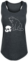 Instant Message Women's Women's Tank Tops HEATHER - Heather Charcoal Cat Playing With Skull Racerback Tank - Women
