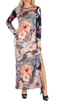 24/7 Comfort Apparel Floral Long Sleeve Maxi