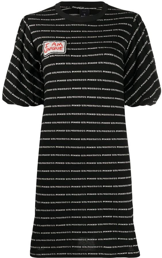 Pinko striped logo T-shirt dress