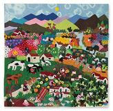 Handmade Applique Patchwork Wall Hanging Tapestry 39x39, 'Andean Hillside'