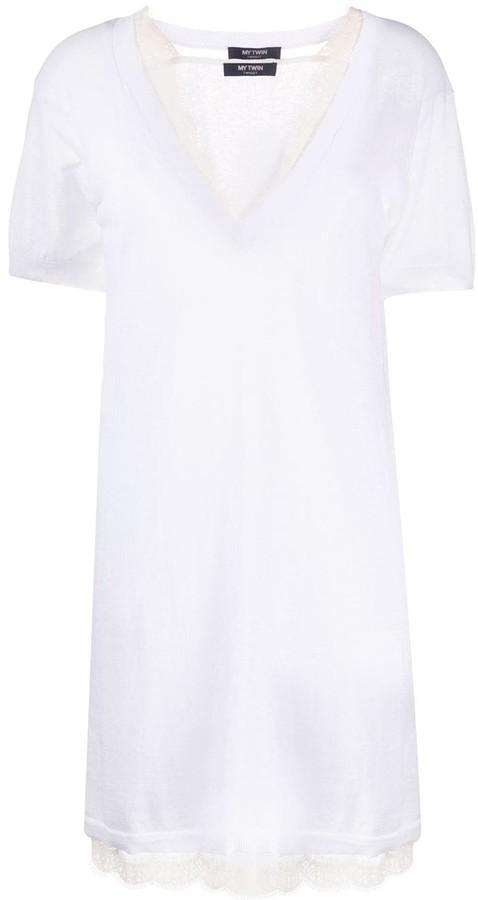 Twin-Set layered lace T-shirt dress