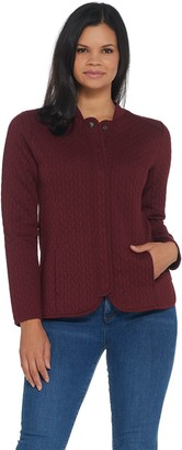 Isaac Mizrahi Live! Quilted Snap Front Knit Bomber Jacket