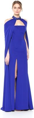 Mac Duggal Womens 2 Piece Rhinestone Embellished Cape and Gown