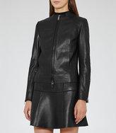 Reiss Erika Collarless Leather Jacket