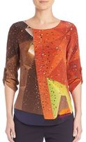 Akris Punto Alice Printed Silk Blouse