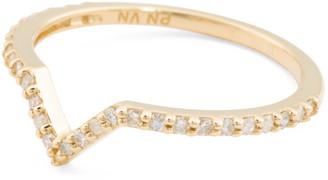 14k Gold And Diamond Chevron Ring