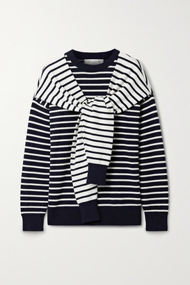 Michael Kors Tie-front Striped Cashmere Sweater - Midnight blue