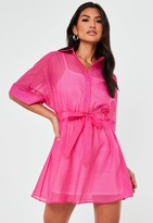 Missguided Pink Organza Skater Shirt Dress