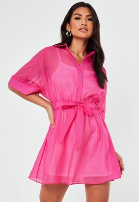 Missguided Pink Organza Skater Shirt Dress