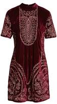 Kas Women's Lily Embroidered Velvet Shift Dress