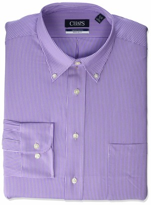 Chaps Men's Dress Shirt Regular Fit Comfort Stretch Check