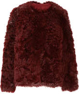 Yves Salomon Reversible Suede And Shearling Coat - Burgundy