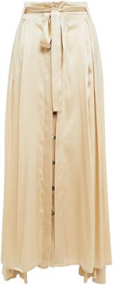 Ann Demeulemeester Belted Pleated Silk-blend Satin Maxi Skirt