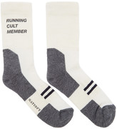 Satisfy Off-white and Grey Patchwork Tube Socks