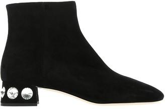 Miu Miu Valentino Embellished Heel Ankle Boots